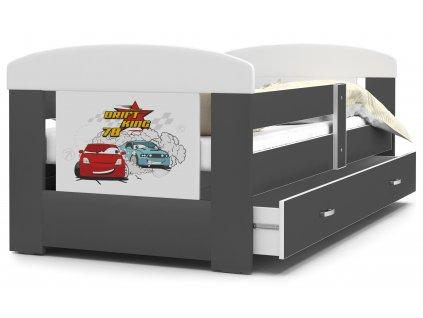 Dětská postel s obrázkem auta šedá