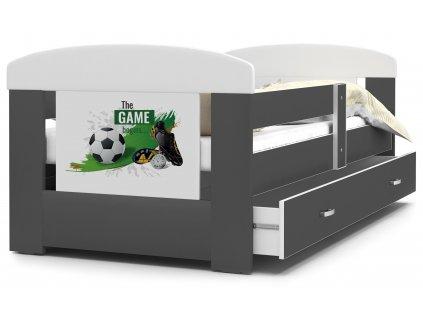 Dětská postel s obrázkem fotbal šedá