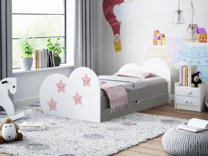 Dětská postel s obrázkem a úložným prostorem šedá hvězdičky 07