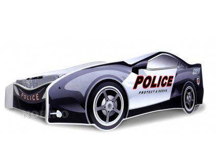 Dětská auto postel - policie 2 180x80 cm + matrace zdarma