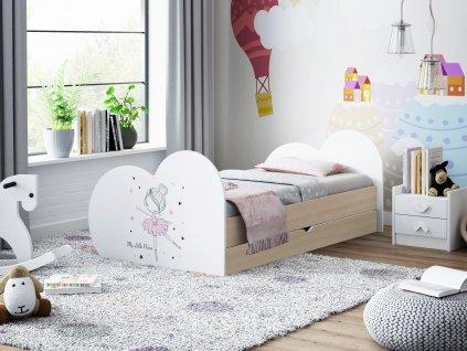 Dětská postel s obrázkem a úložným prostorem světlá hruška baletka 11