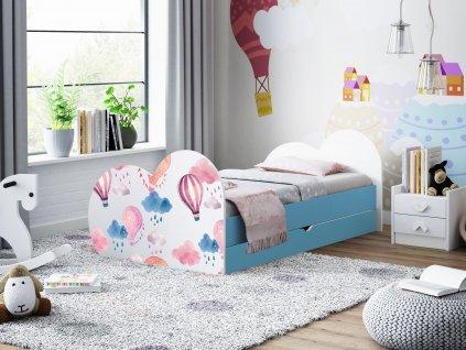 Dětská postel s obrázkem a úložným prostorem světle modrá balóny 19