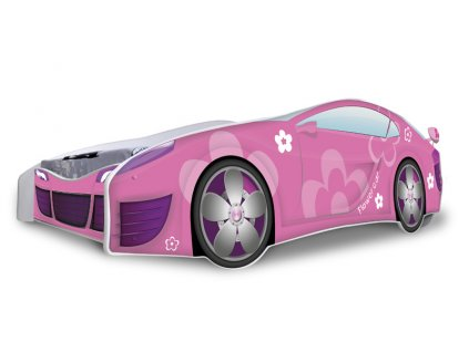 Dětská auto postel růžové auto 4 180 x 80 cm + matrace zdarma