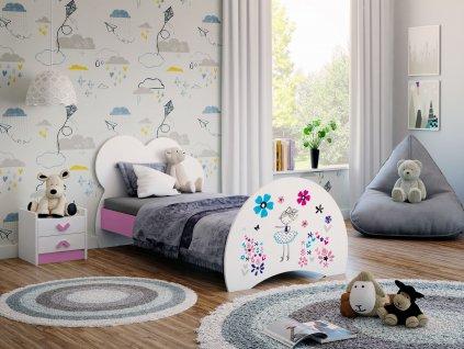 04 dětská postel s obrázkem baletka růžová