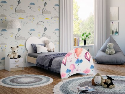 12 dětská postel s obrázkem světlá hruška balóny