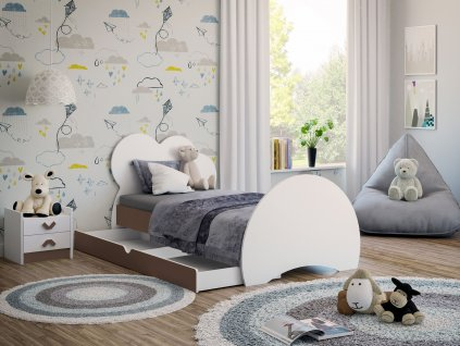 Dětská postel s obrázkem a úložným prostorem cappuccino