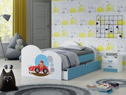 01 dětská postel s obrázkem a úložným prostorem auto modrá