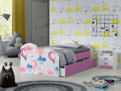 05 dětská postel s obrázkem a úložným prostorem balóny růžová
