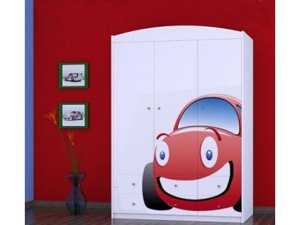 dětská šatní skříň sz11 s obrázkem červené auto (12)
