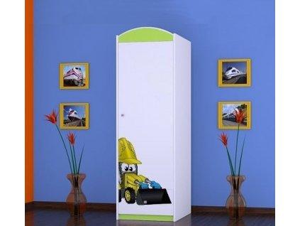 dětská šatní skříň sz05 s obrázkem bagr (8)
