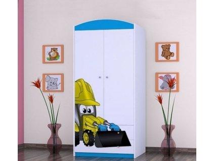 dětská šatní skříň sz06 s obrázkem bagr (5)