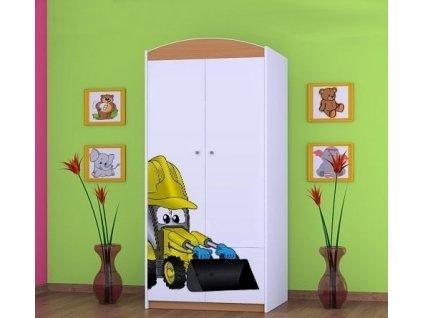 dětská šatní skříň sz07 s obrázkem bagr (1)