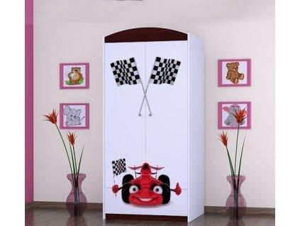 dětská šatní skříň sz0á s obrázkem auto s vlajkou (1)