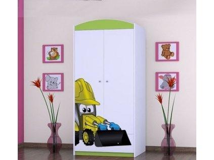 dětská šatní skříň sz0á s obrázkem bagr (5)
