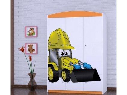 dětská šatní skříň sz10 s obrázkem bagr (1)