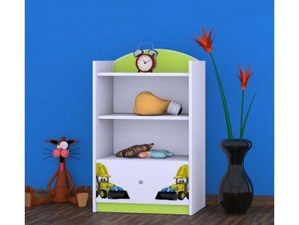 dětský regál rn08 komoda s obrázkem bagr (2)