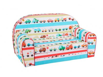 Dětská sedací rozkládací pohovka 100 cm auta 01
