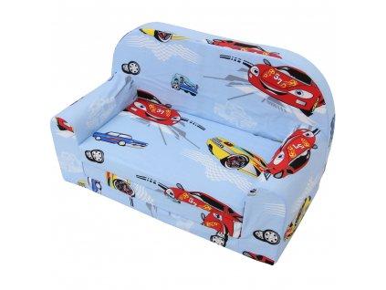 Dětská sedací rozkládací pohovka 100 cm auta 02