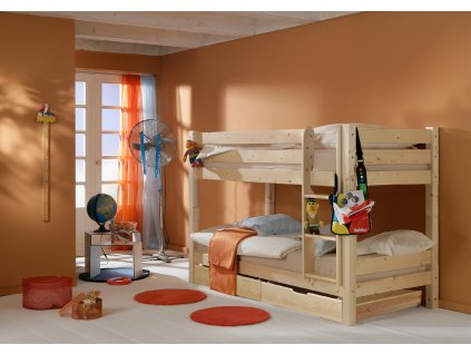 Poschoďová postel 200 x 90 cm přírodní