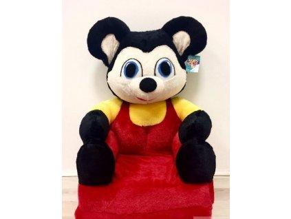 Dětské plyšové rozkládací křesílko - Mickey