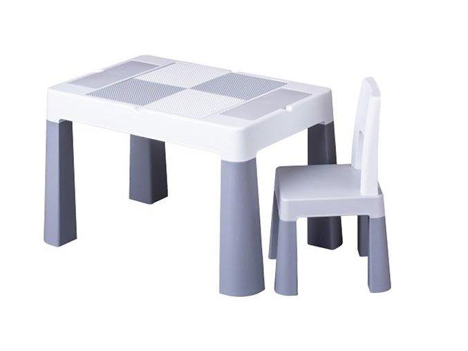 Dětský set stůl a židle MULTIFUN šedý