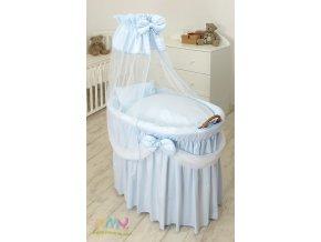 Proutěný košík pro miminko s kompletním vybavením Sissi Princess modrý