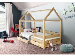 Dětská domečková postel Mike přírodní 200 x 90 cm