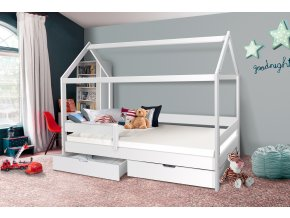 Dětská domečková postel Mike bílá 200 x 90 cm