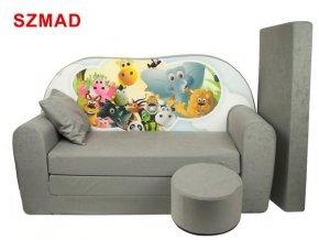 Dětská sedací rozkládací souprava s bobkem šedá - zvířátka SZMAD