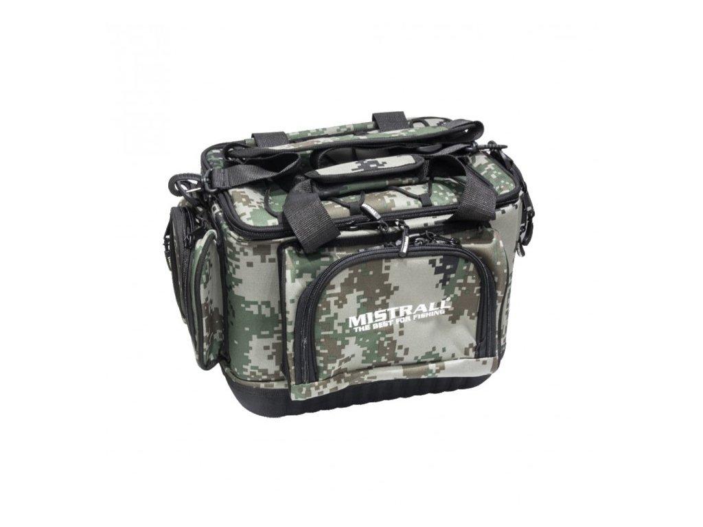 Mistrall rybářská taška s pevným dnem a kapsami, 48x30x26 cm, maskáč