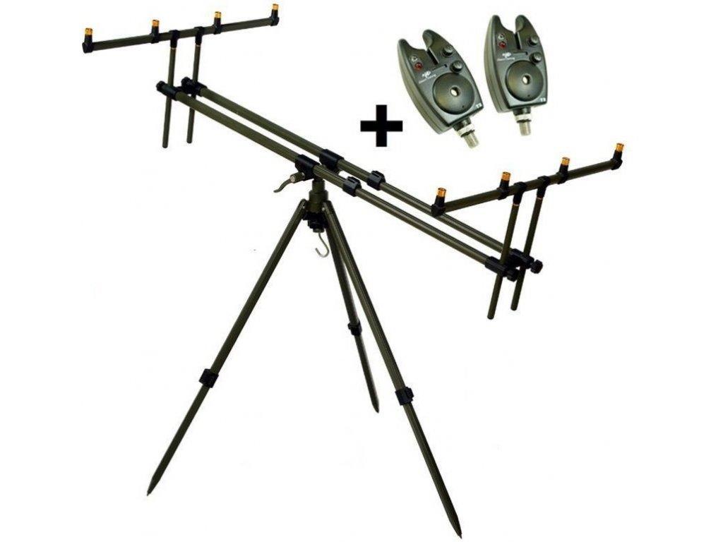 Giants fishing Stojan Tripod Army 4 Rods + 2x hlásič ZDARMA!