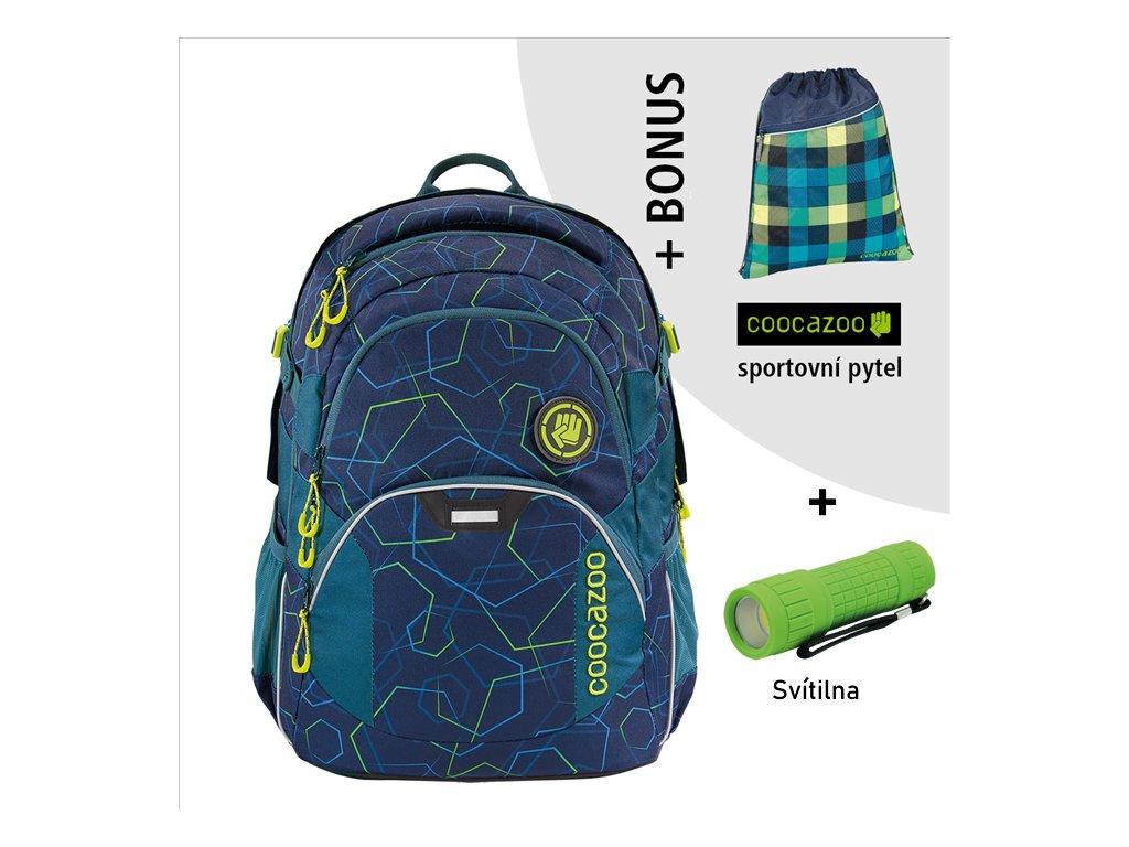 Školní batoh coocazoo JobJobber2, Laserbeam Blue  + LED svítilna + športový vak + zľava 10% s kódom AKCE10