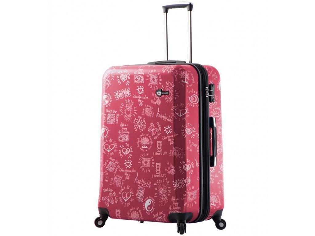 cestovný kufor MIA TORO M1089/3-L - červená  + LED svítilna