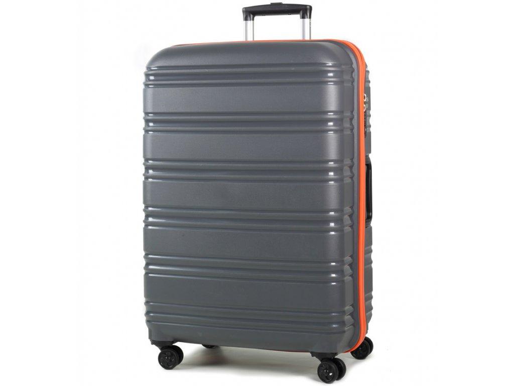 cestovný kufor ROCK TR-0164/3-L PP - šedá/oranžová  + LED svítilna