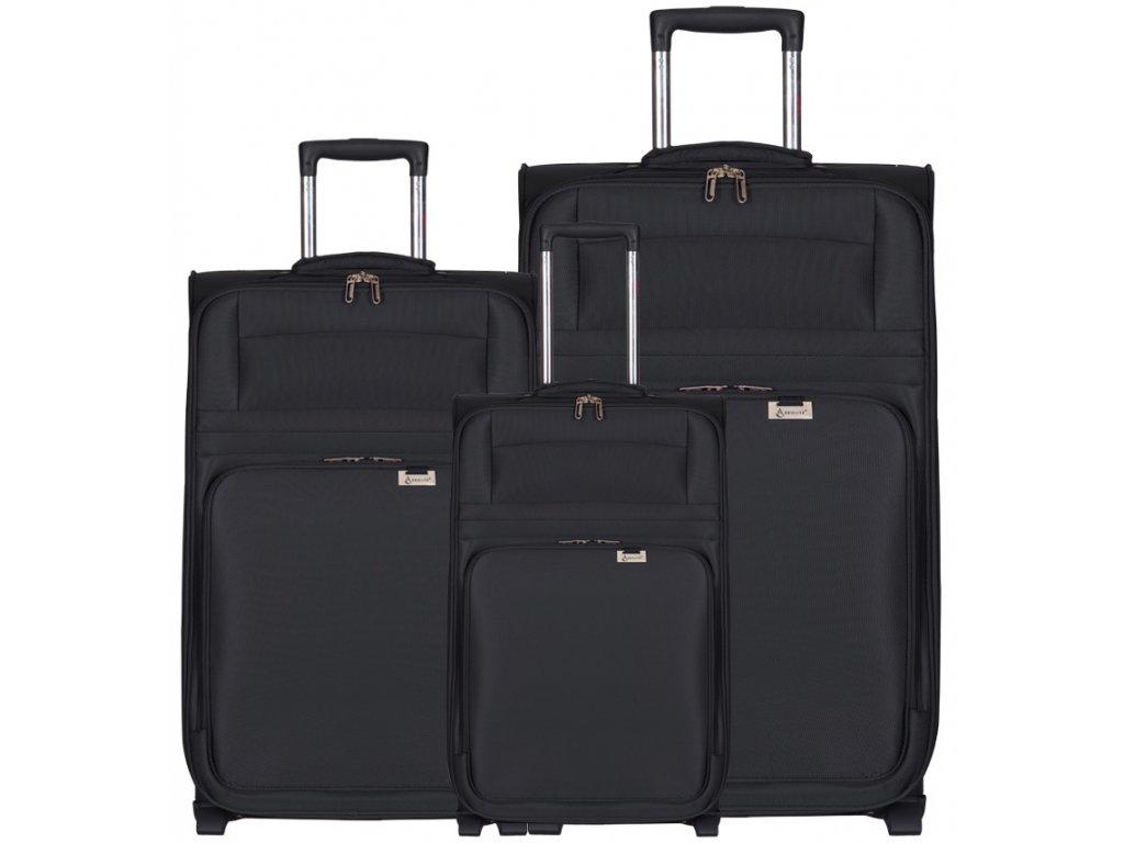 Sada cestovných kuforů AEROLITE T-9515/3 - čierna  + LED svítilna