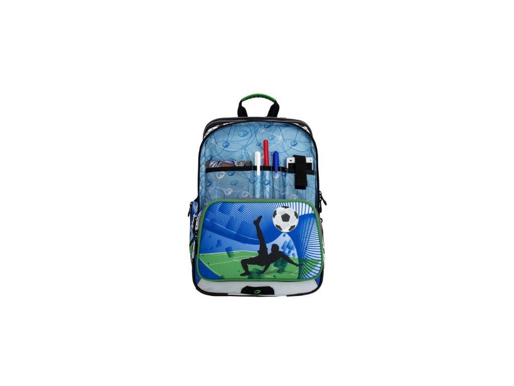 ... Bagmaster GALAXY 6 D BLUE GREEN WHITE Klučičí školní batoh fotbal + LED  Svítilna ... ad8e605117