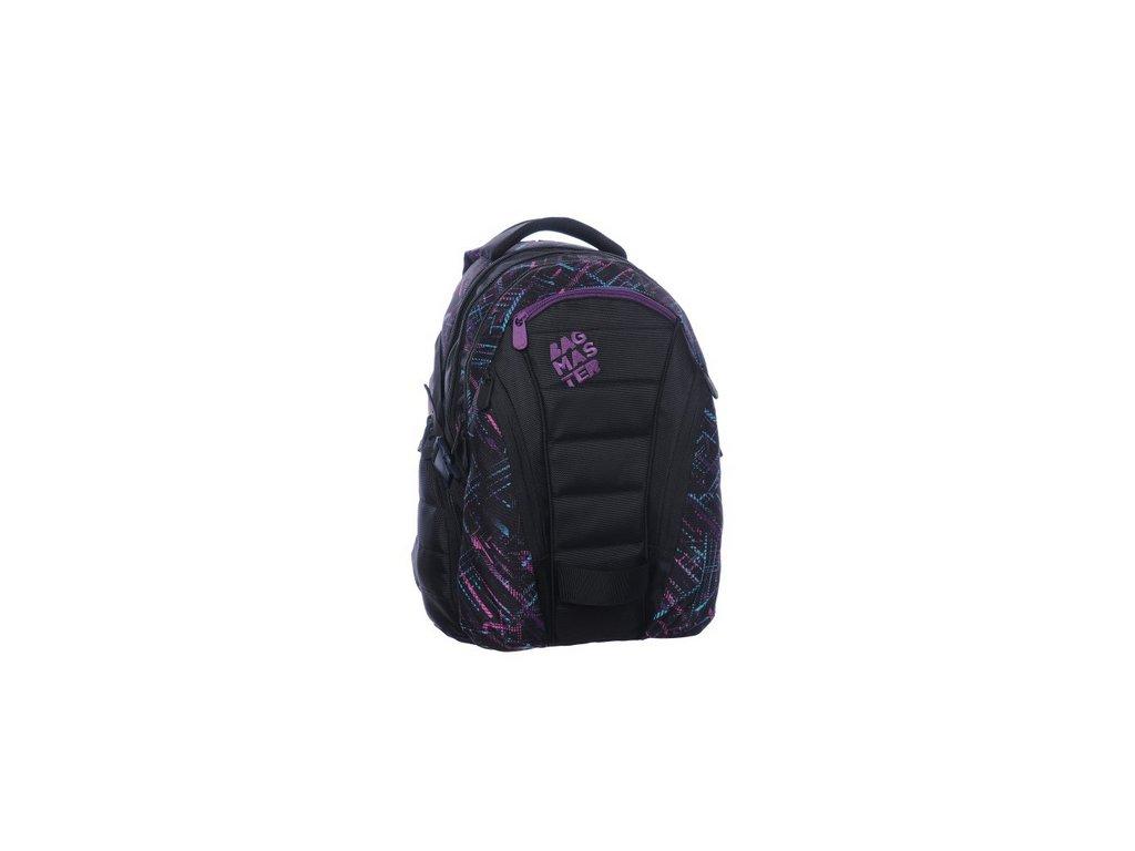 Bagmaster Studentský batoh BAG 0115 C BLACK/VIOLET  + LED svítilna