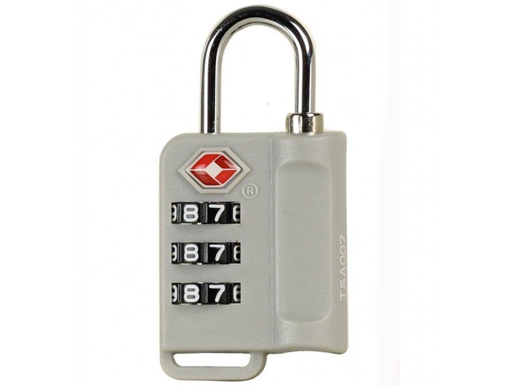 Bezpečnostní TSA kódový zámek na zavazadla ROCK TA-0006 - strieborná
