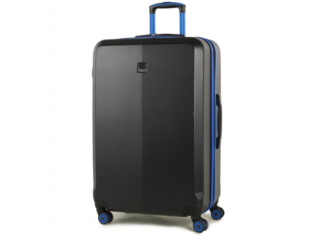 cestovný kufor MEMBER'S TR-0150/3-L ABS - čierna/modrá  + LED svítilna