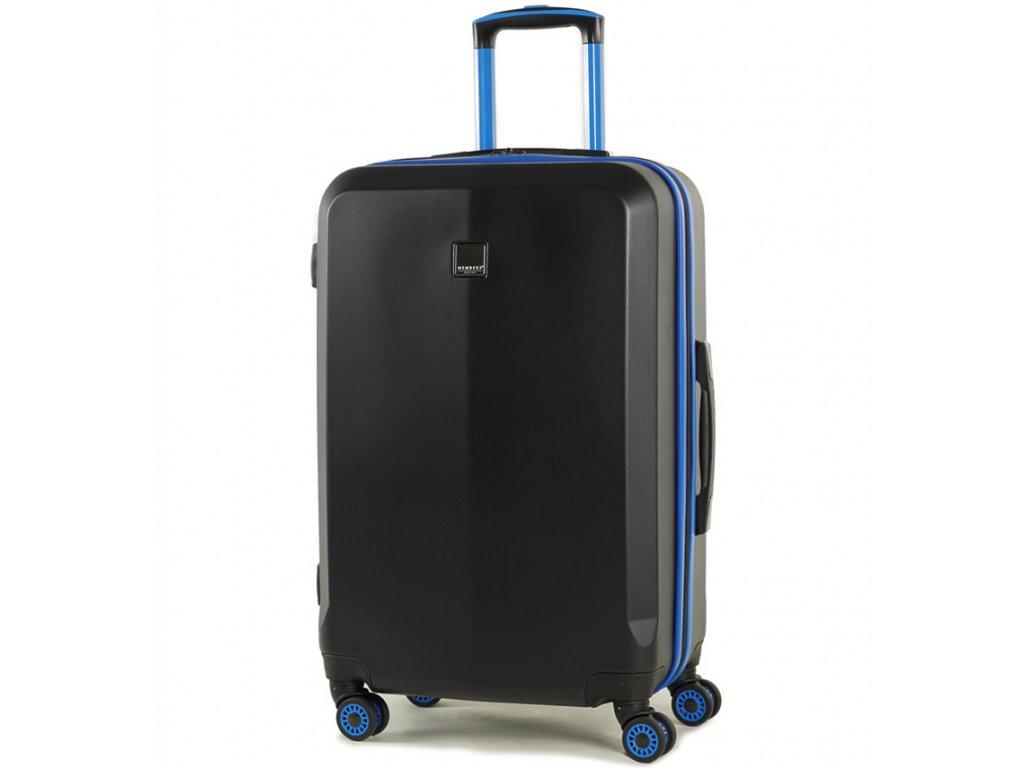 cestovný kufor MEMBER'S TR-0150/3-M ABS - čierna/modrá  + LED svítilna
