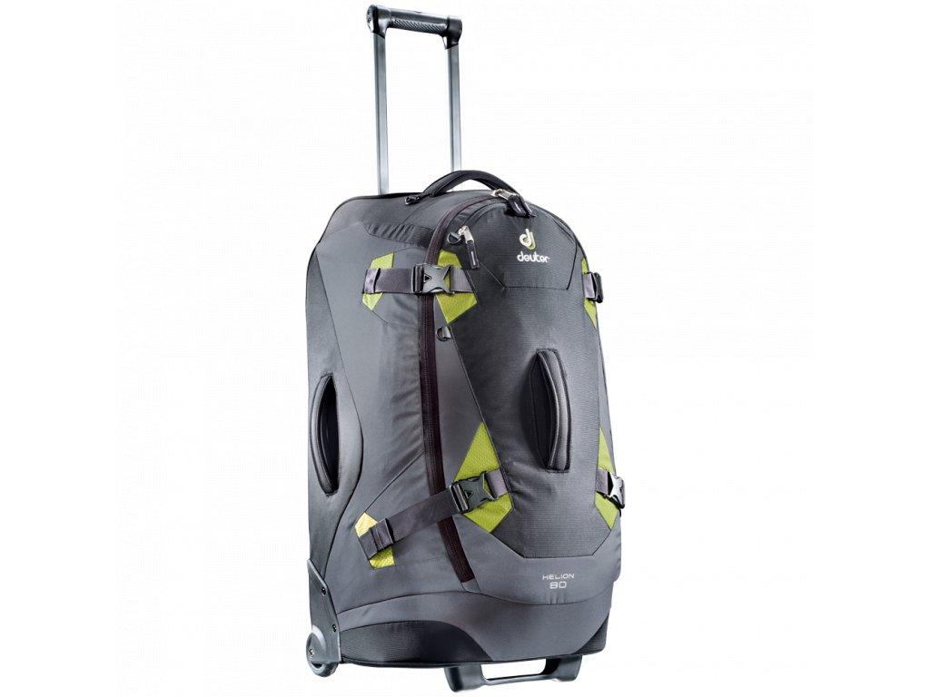 b1a8797e45acf Deuter Helion 80 čierna/zelená - Cestovná taška na kolečkách + LED Svítilna