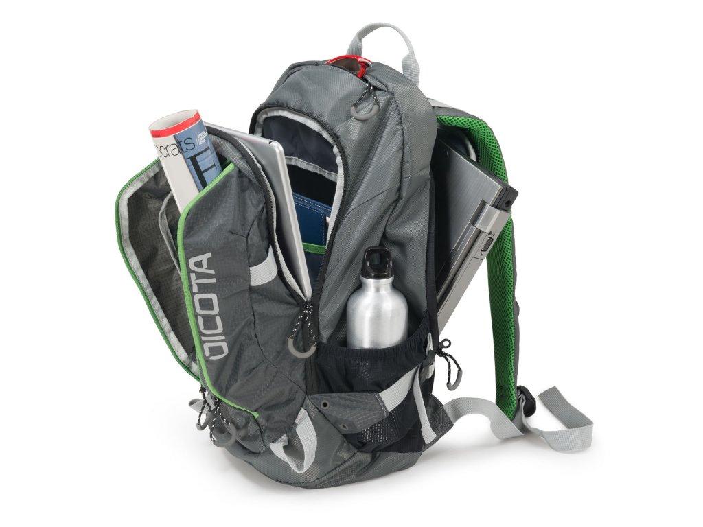 Dicota Backpack Active 14-15.6 grey lime + LED Svítilna - SvetBatohov.sk c3a8ee5148