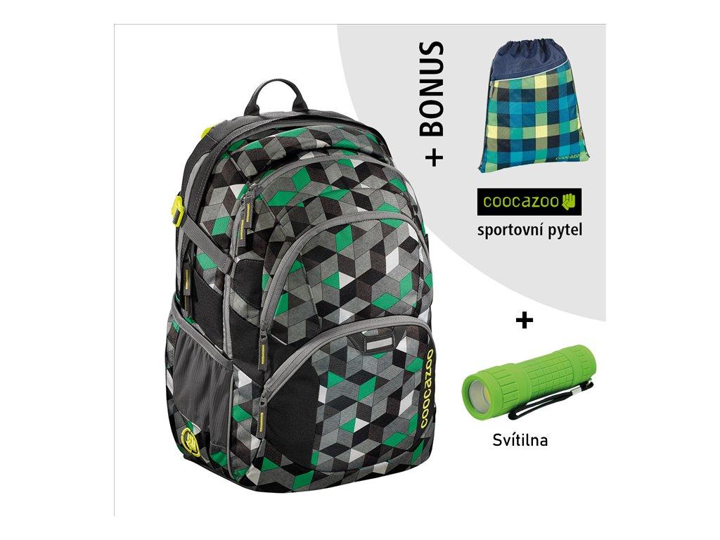 Školní batoh Coocazoo JobJobber2, Crazy Cubes  + LED svítilna + športový vak + zľava 10% s kódom AKCE10