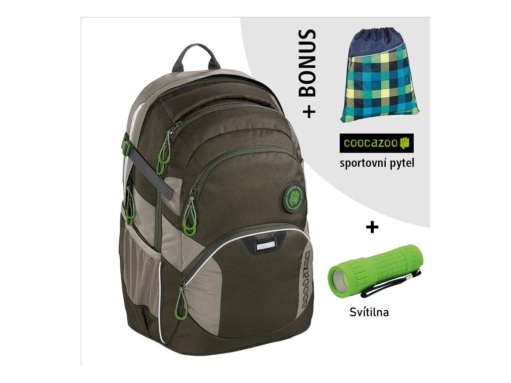 Školní batoh Coocazoo JobJobber2, Solid Woodsman  + LED Čelovka 3W + sportovní pytel