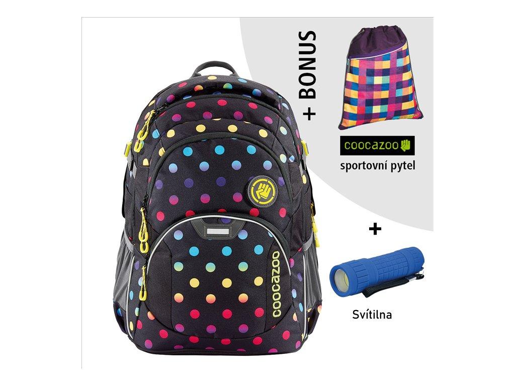 Školní batoh Coocazoo JobJobber2, Magic Polka Colorful  + LED Čelovka 3W + sportovní pytel