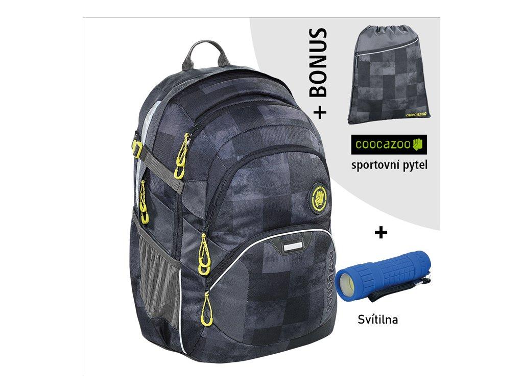 Školní batoh Coocazoo JobJobber2, Mamor Check  + LED Čelovka 3W + sportovní pytel