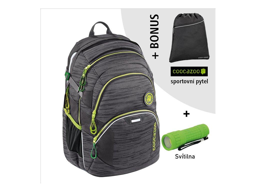Školní batoh Coocazoo JobJobber2, Black Knit  + LED Čelovka 3W + sportovní pytel