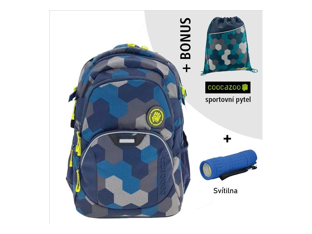 Školní batoh Coocazoo JobJobber2, Blue Geometr  + LED svítilna + športový vak + zľava 10% s kódom AKCE10