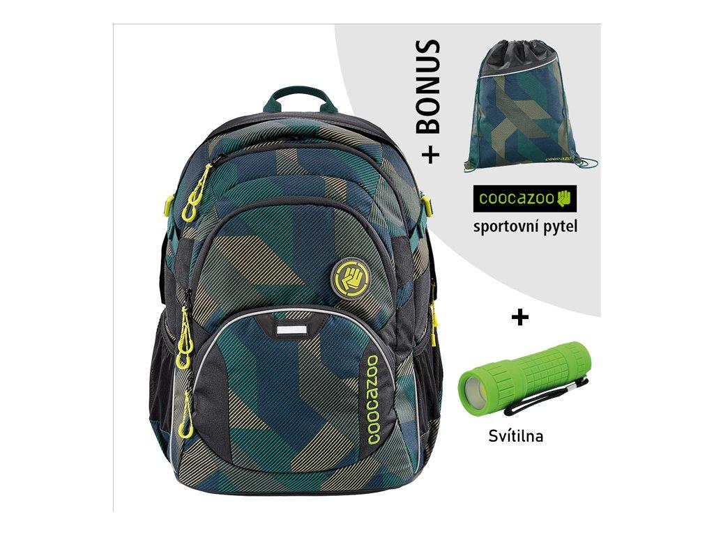 Školní batoh Coocazoo JobJobber2, Polygon Bric  + LED Čelovka 3W + sportovní pytel