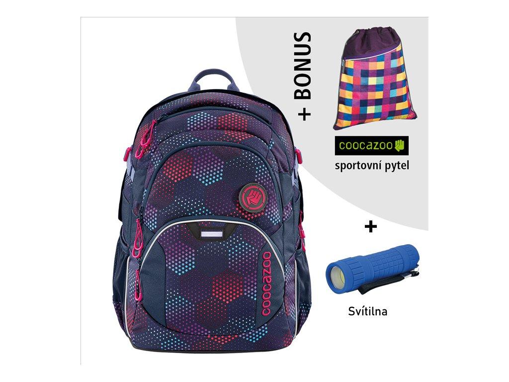 Školní batoh Coocazoo JobJobber2, Purple Illus  + LED svítilna + športový vak + zľava 10% s kódom AKCE10